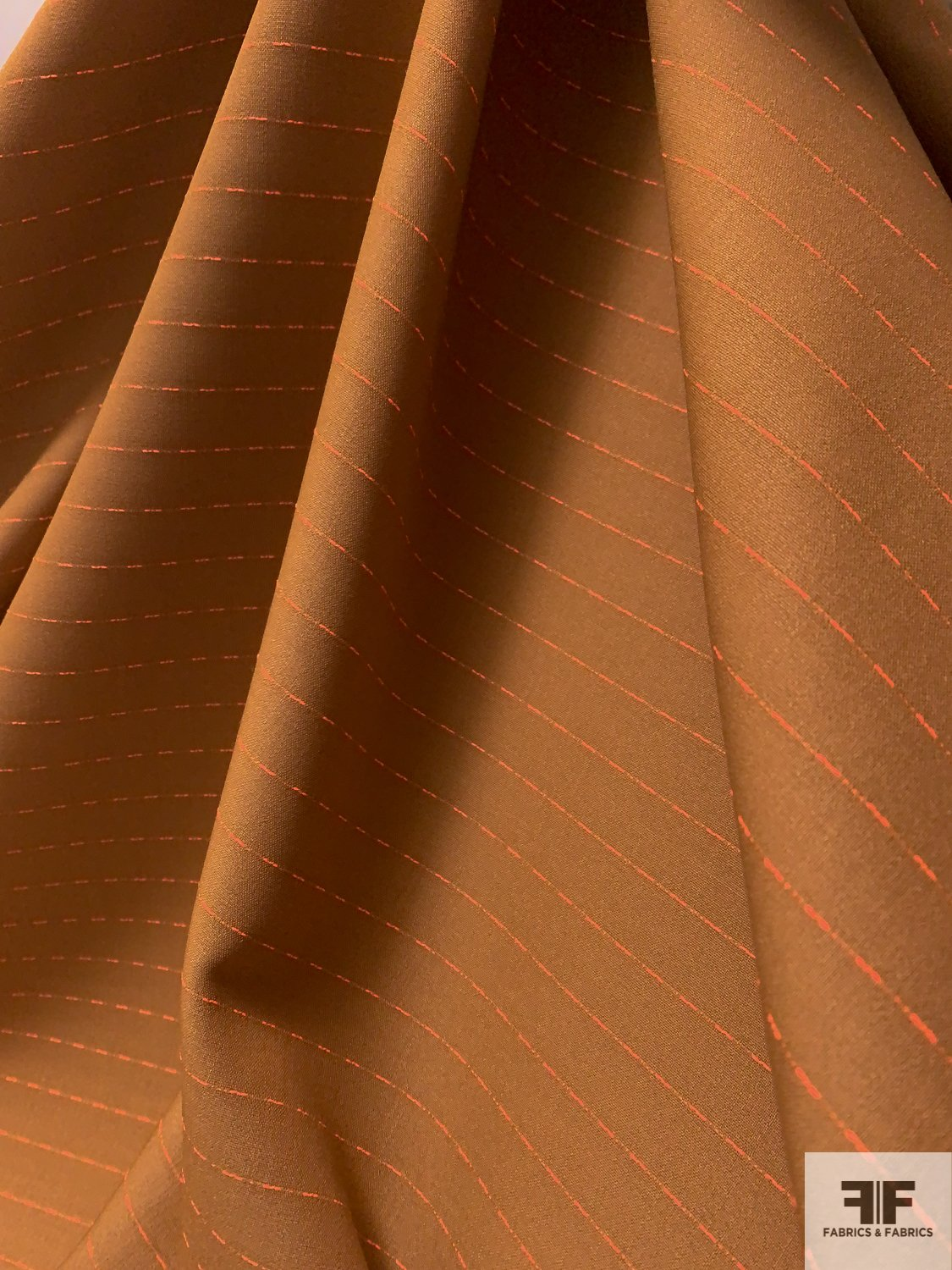 Made in Italy Virgin Wool Blend Suiting with Finely Woven Stripes - Caramel / Neon Orange