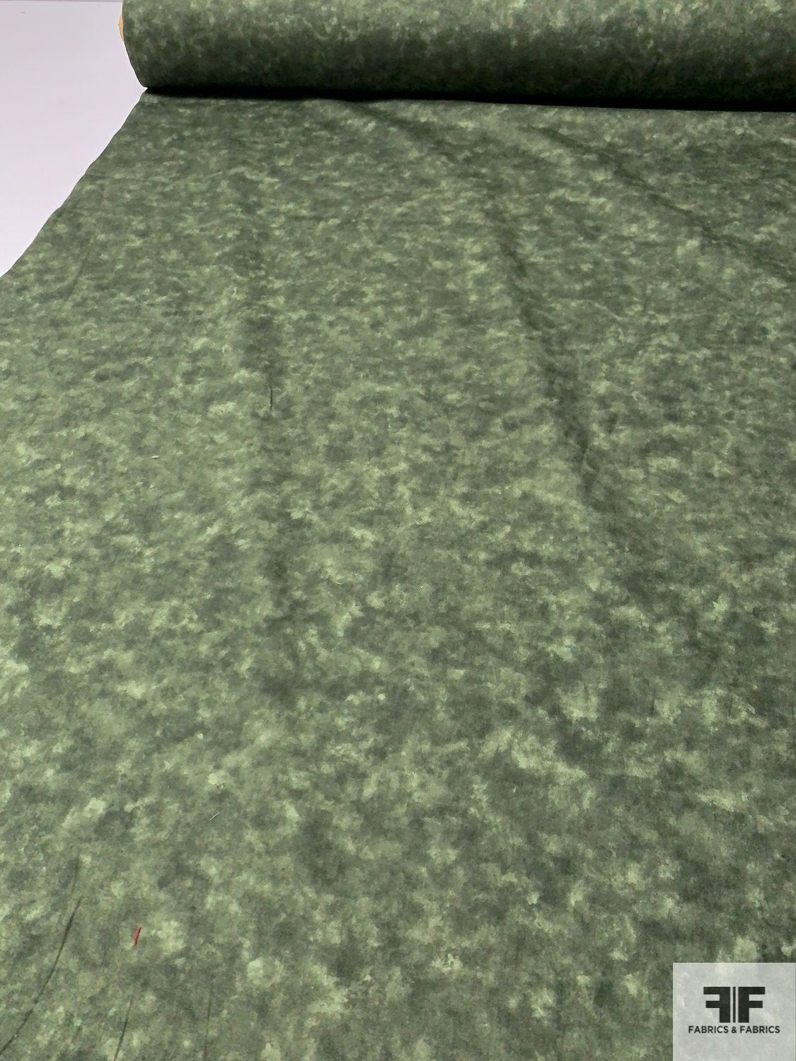 Japanese Deep Tie-Dye Printed Cotton Lawn - Moss Green / White