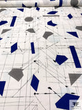 The Architect's Geometric Sketch Printed Cotton Lawn - White / Royal Blue / Grey / Black