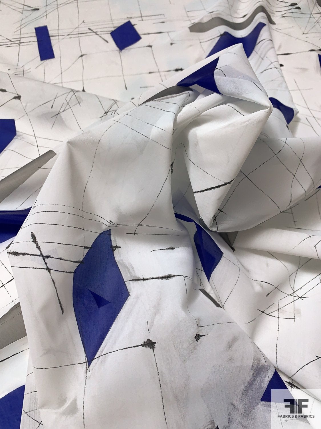 The Architect's Geometric Sketch Printed Silk Voile - White / Royal Blue / Grey / Black