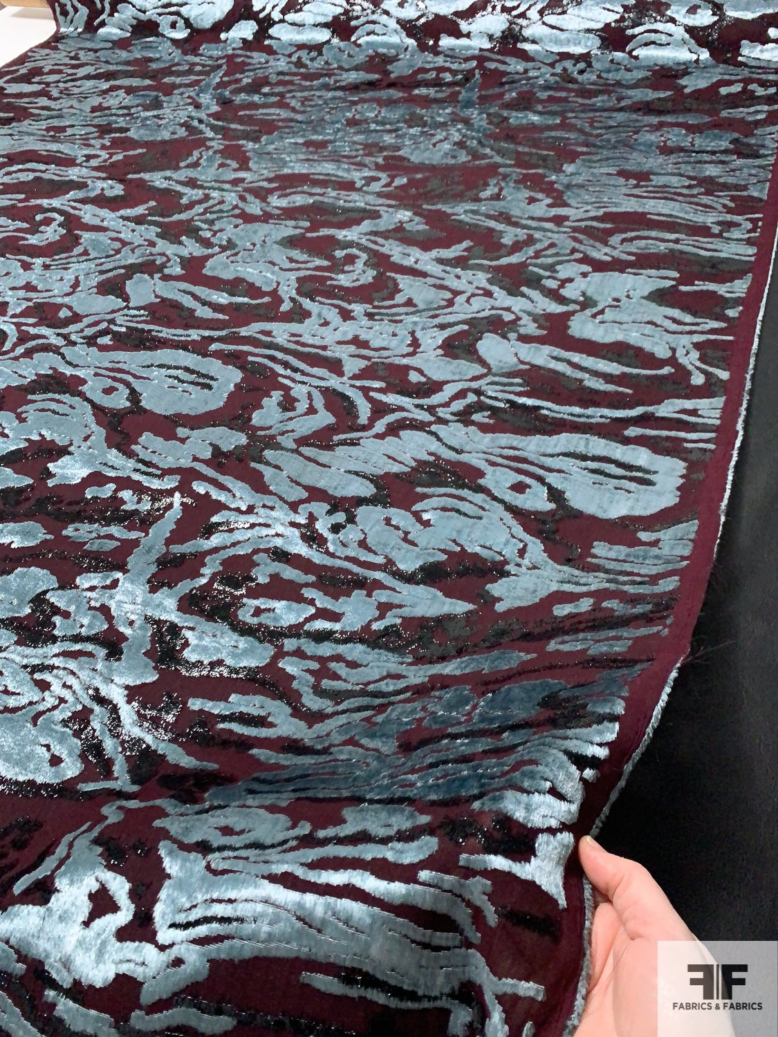 Made in France Novelty Abstract Panne Burnout Velvet with Fused Backing - Merlot / Dusty Sky Blue / Black