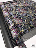 Leaf and Floral Printed Burnout Velvet - Yellow / Purple / Sky Blue-Grey / Black