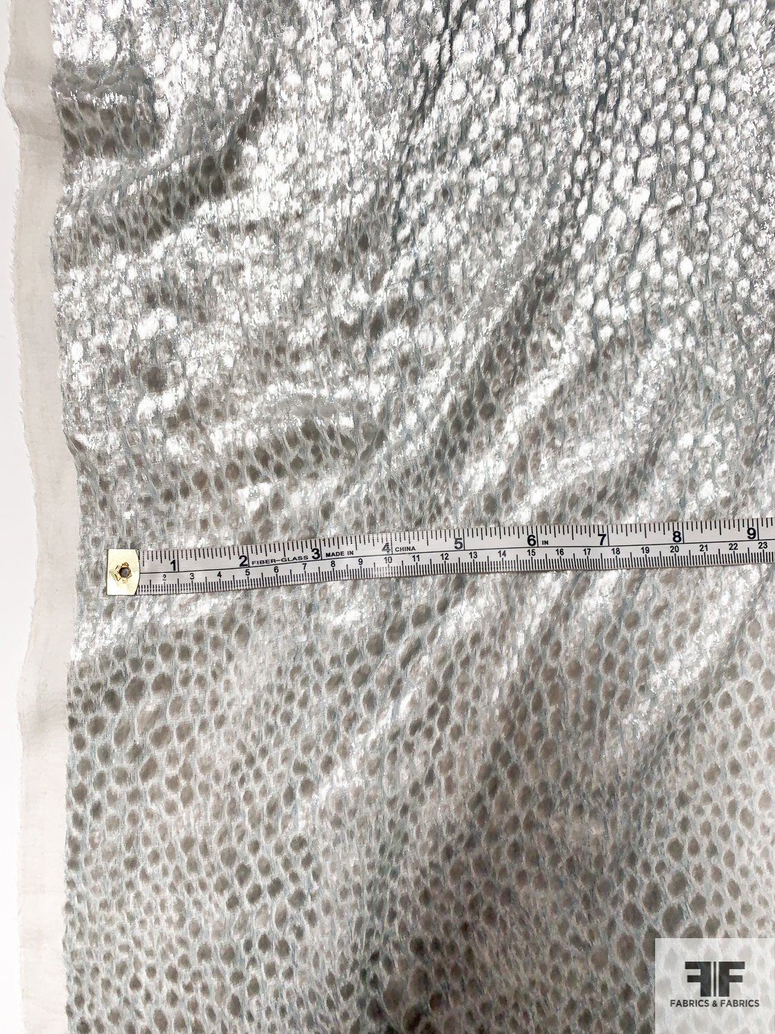 Made in France Dotted Shimmery Burnout Velvet with Lurex - Silver / Grey