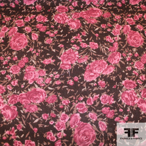 Bouquet Print Cotton Corduroy -Pink/Brown