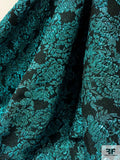 Made in France Cloque Floral Metallic Brocade - Icy Teal / Black