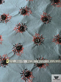 Famous NYC Designer Italian Brocade with Floral Cloque Lurex Design - Mineral Blue / Salmon / Black
