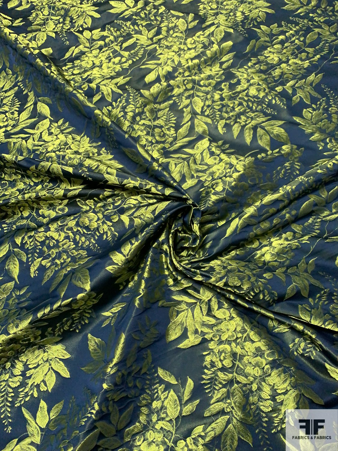 Made in Spain Romantic Iridescent Leaf Bouquet Satin Taffeta Jacquard - Lime Green / Navy