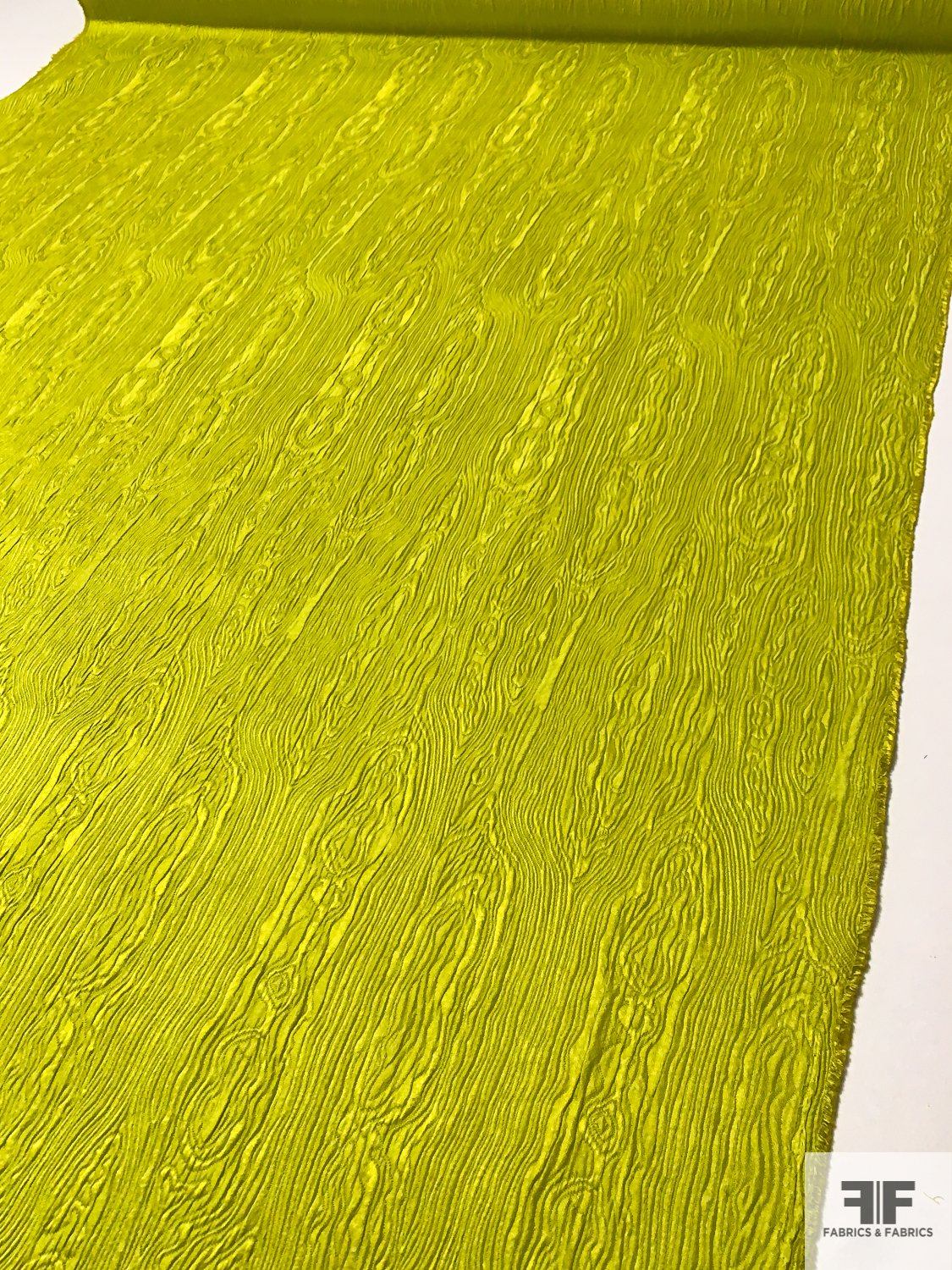 Wood Grain Pattern Slightly Textured Brocade - Chartreuse