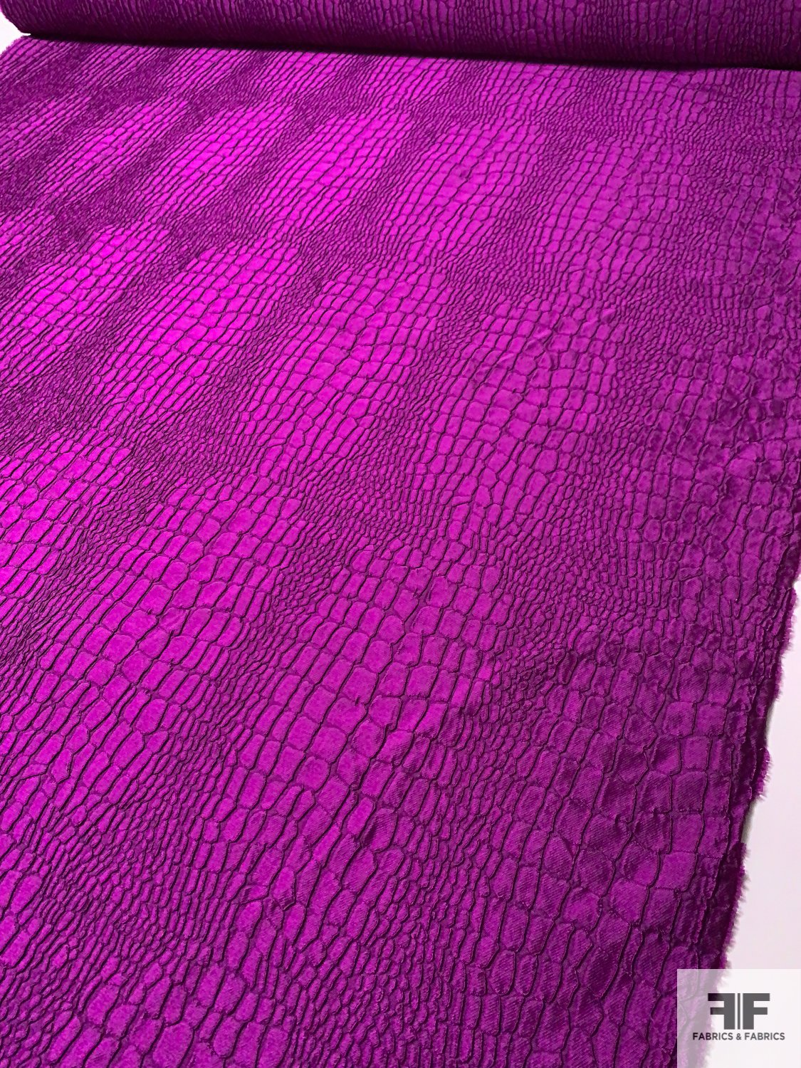 Made in Italy Alligator Pattern Brocade - Deep Magenta