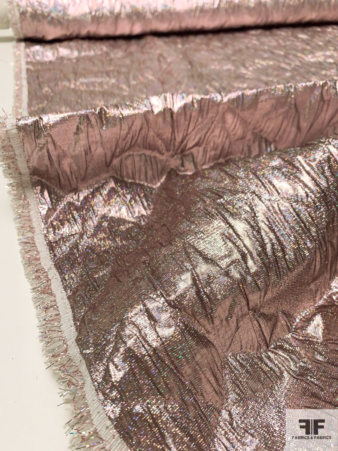 Hologram Textured Geometric Cloque Lamé Brocade - Metallic Mauve