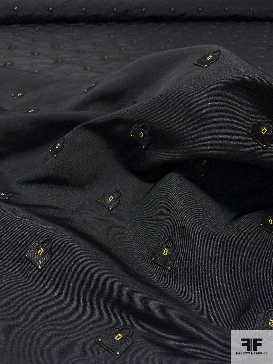 Silk Faille with Embroidered Purses - Black / Gold