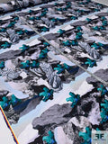 Abstract Collage Printed Double Faced Polyester Satin - Teal / Blue / Grey / Black