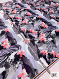 Abstract Collage Printed Double Faced Polyester Satin - Purple / Coral / Black / Grey