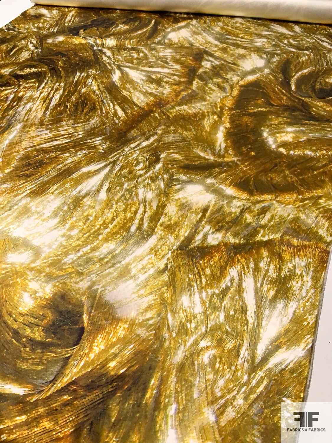 Golden Waves Printed Double Faced Silk Satin - Yellow / Gold