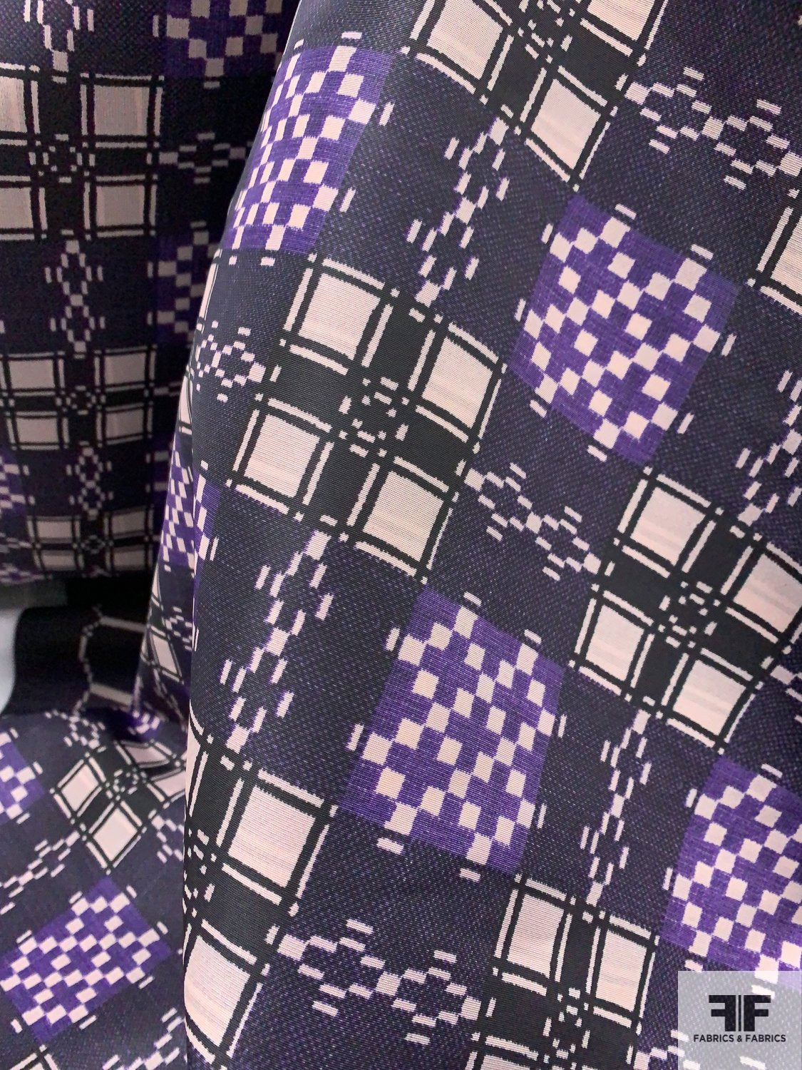 Ethnic Geometric Checkerboard Printed Poly Nylon Faille - Purple / Eggplant / Black