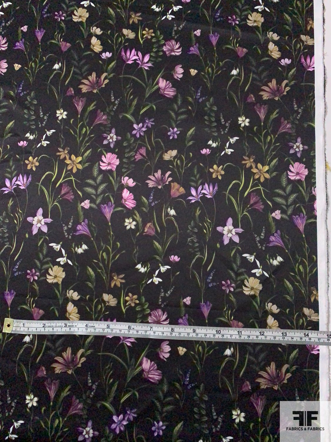 Landscape of Flowers Polyester Satin - Green / Lilac / Purple / Medallion