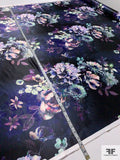 Mystical Floral Printed Polyester Satin - Navy / Shades of Purple / Multi
