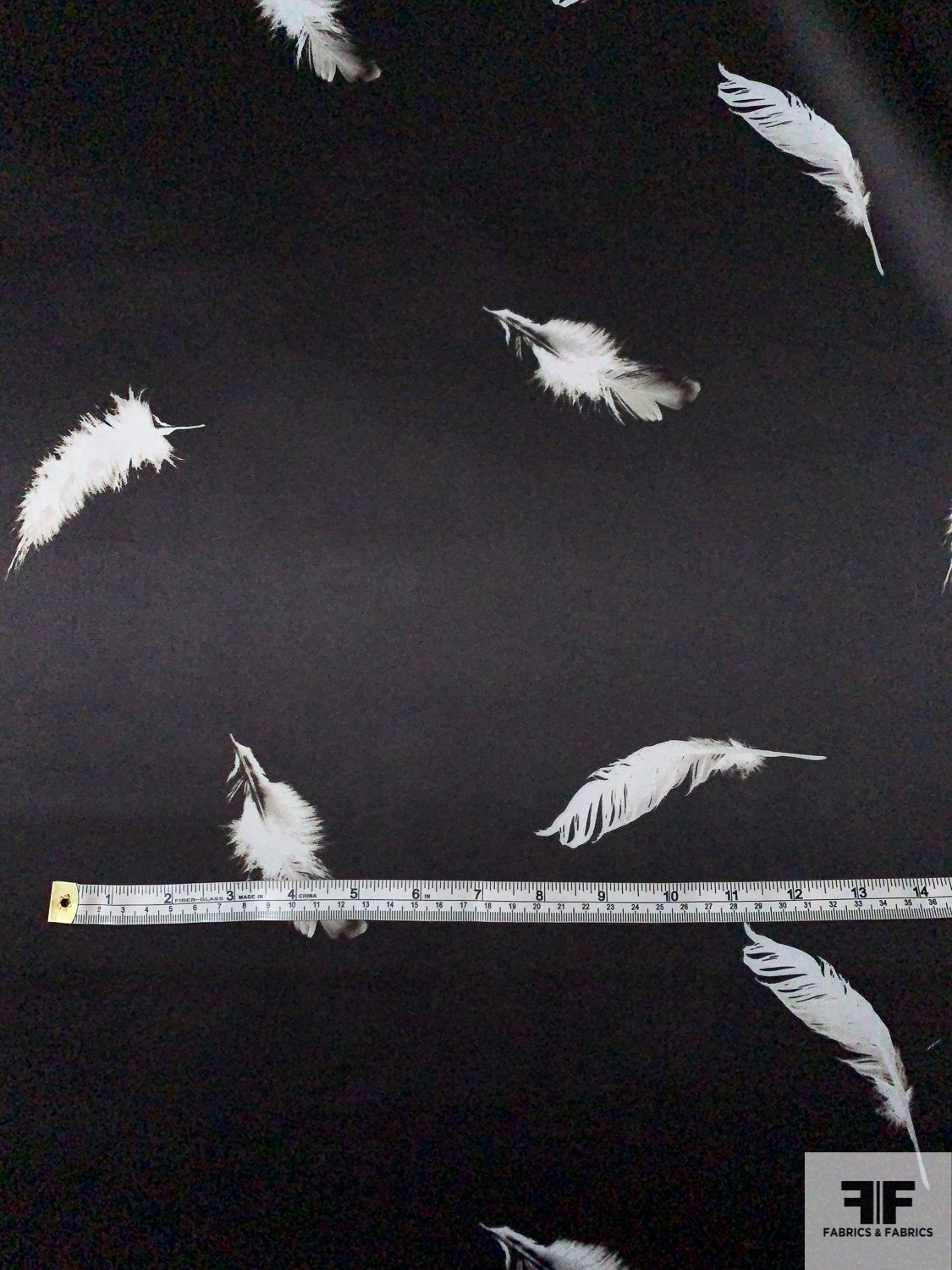 Double-Face and Double-Printed Feather Animal Pattern Polyester Satin with Mechanical Stretch - Black / Dove Grey / Taupe