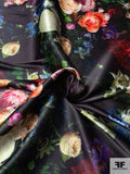 Romantic Floral Printed Polyester Satin with Mechanical Stretch - Multicolor