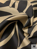 Italian Abstract Tiles Printed Silk Poly Mikado - Black / Beige