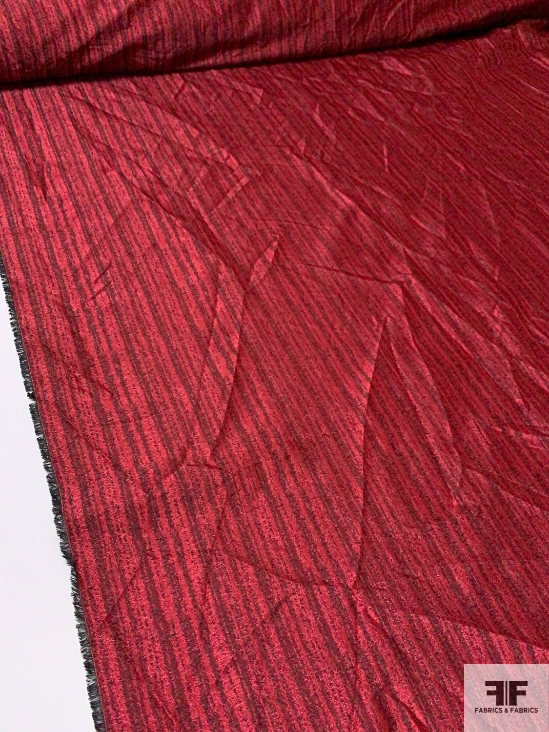 Streaky Striped Brocade - Red / Black