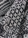 Italian Abstract Textured Silk Poly Lurex Novelty Brocade - Black / Silver