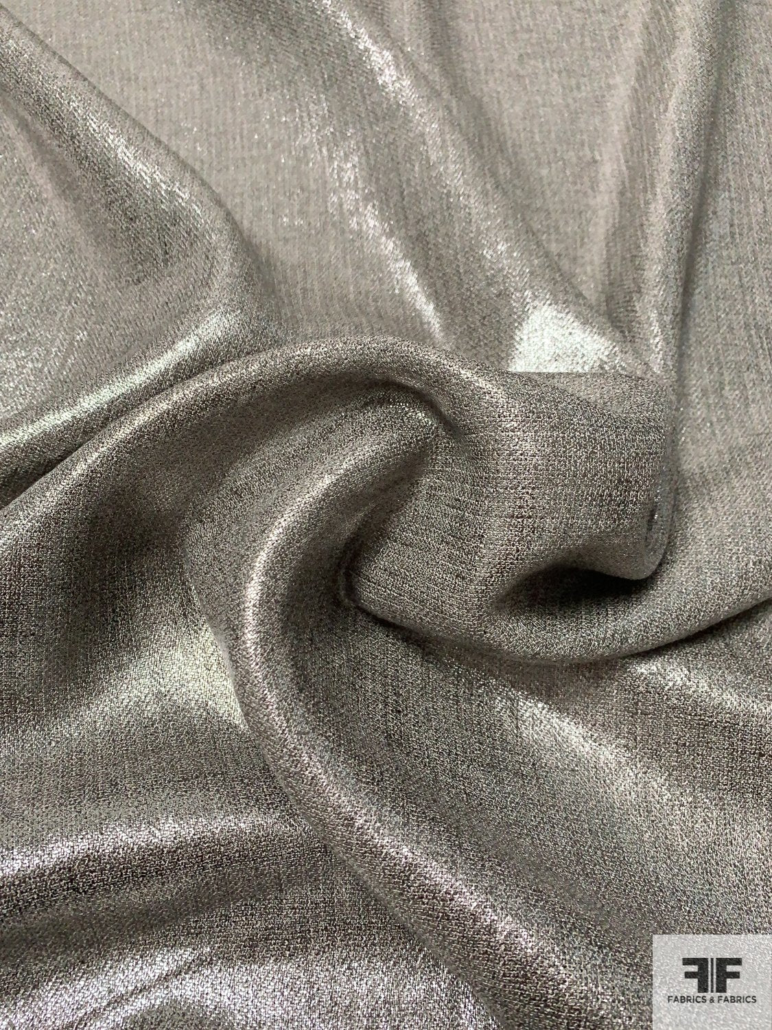 Earth Tone Linen with Metallic Silver Foil Print