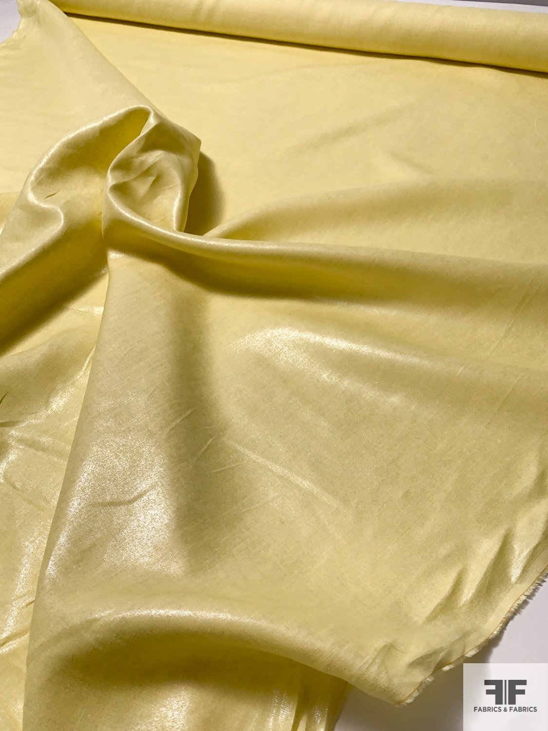 Butter Yellow Linen with Light Metallic Silver Foil Print