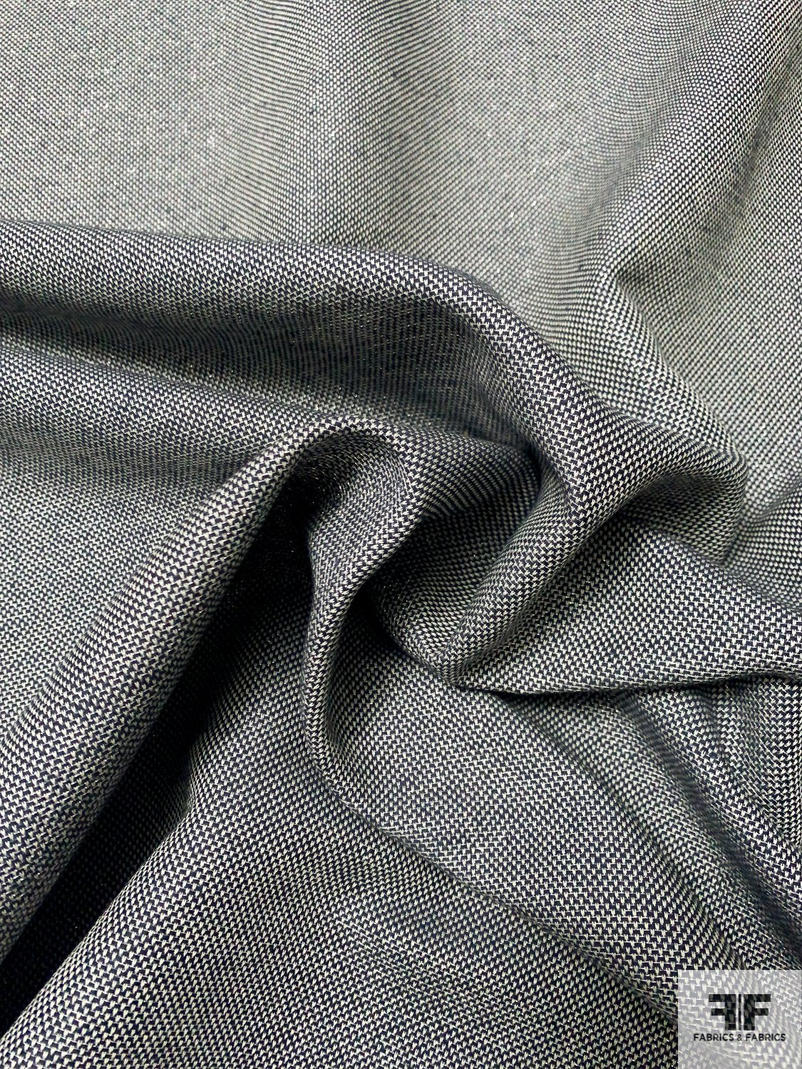 Woven Cotton Linen Suiting with Silver Lurex - Navy / Off-White