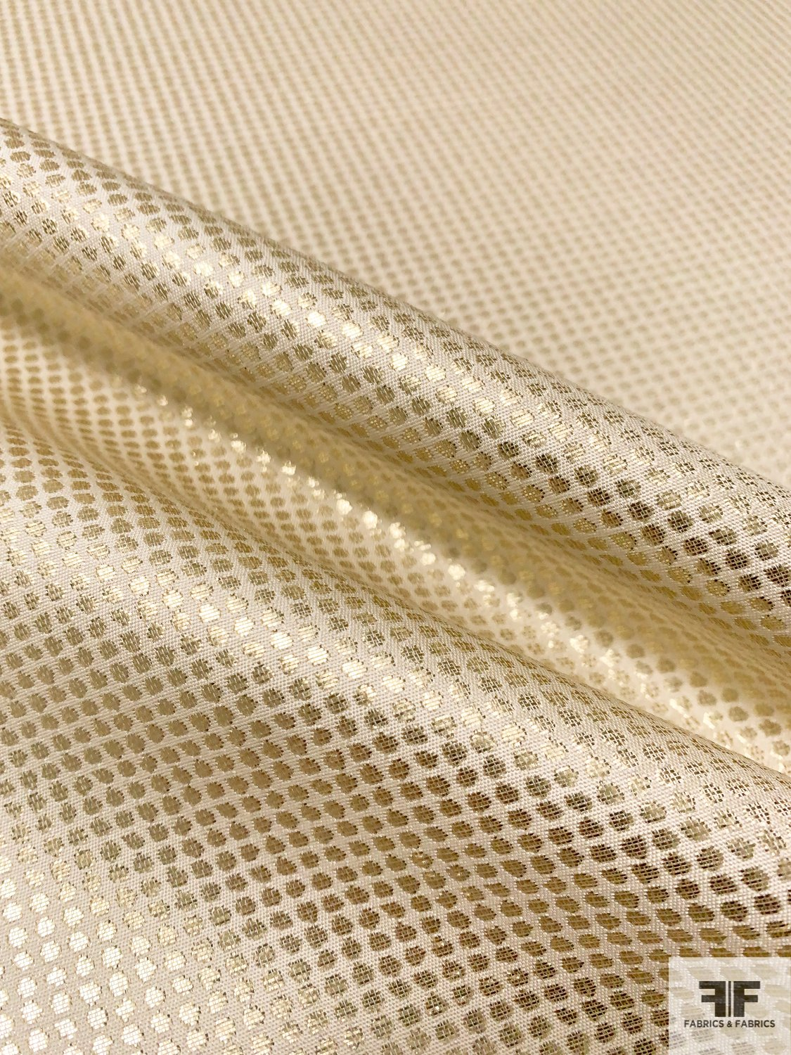 Tiny Circles in Grid Lightweight Brocade - Gold / Cream