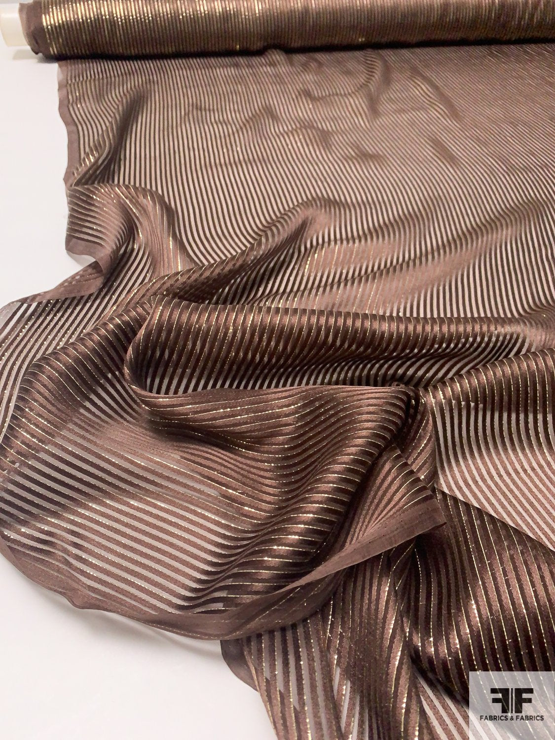Made in France Thin Satin Striped Silk Chiffon with Gold Lurex - Brown / Gold