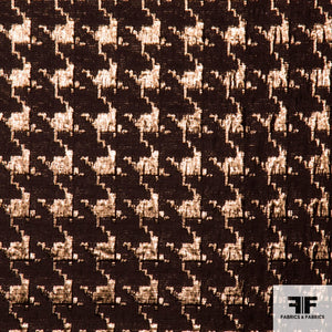 Houndstooth Metallic Brocade - Brown/Gold