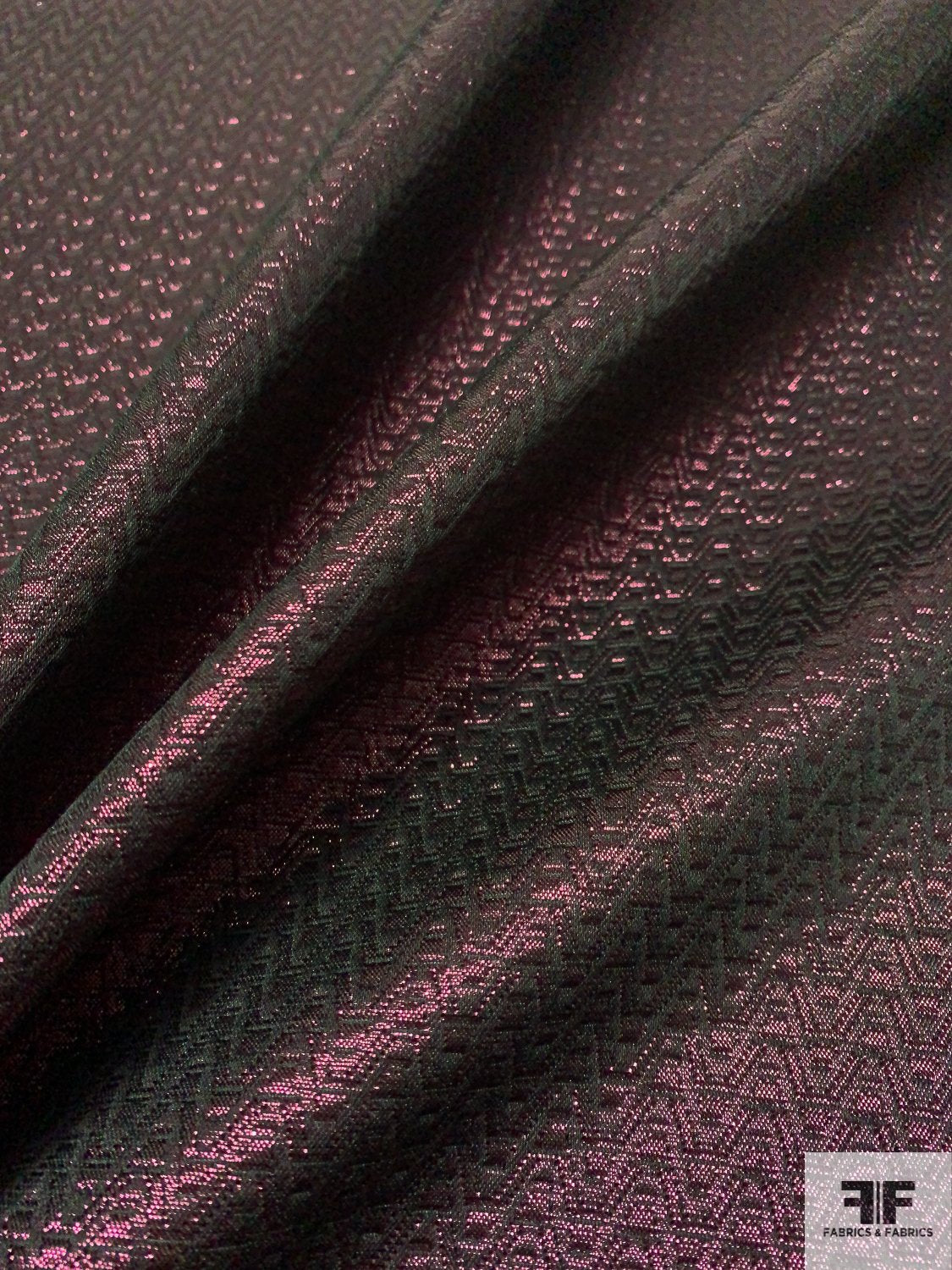 Chevron Brocade-Like Lamé - Metallic Plum