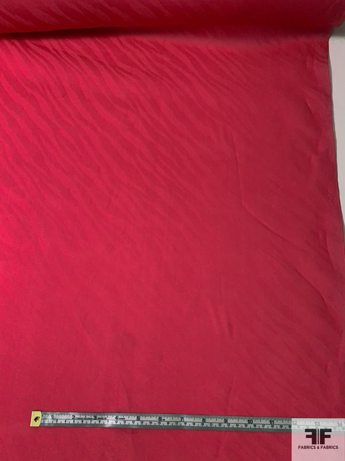 Italian Satin Faced Organza with Wavy Jacquard Pattern - Berry Pink