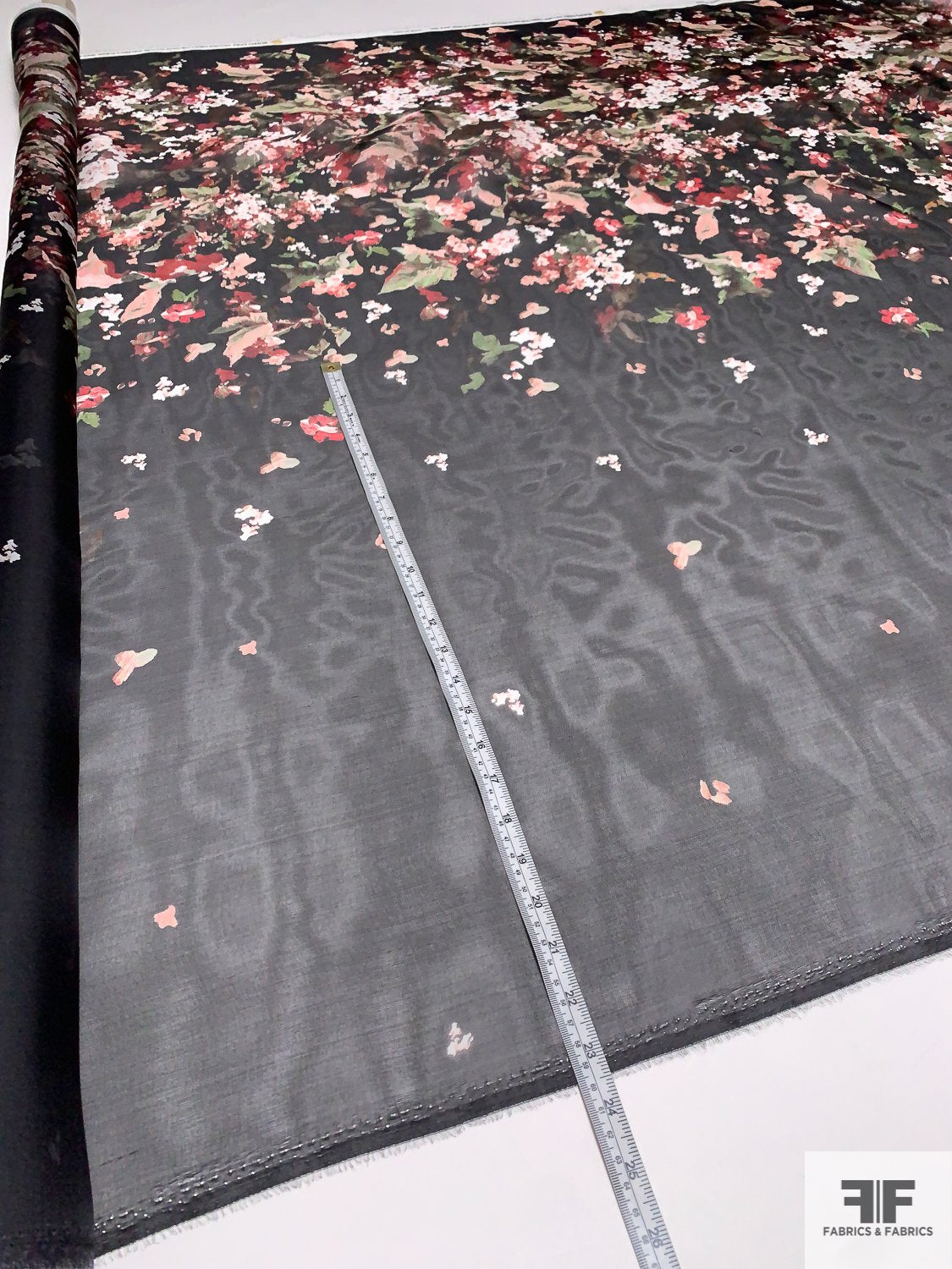 Pamella Roland Italian Painterly Floral Border Printed Fine Satin Face Organza - Black / Green / Red / Mauve