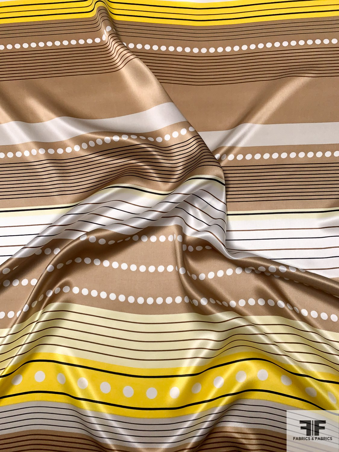Striped and Linear Designer Printed Silk Charmeuse - Dark Nude / Yellow / White / Black