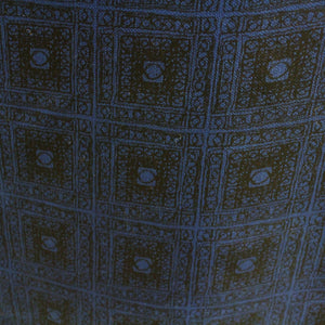Geometric Printed Silk Organza - Blue/Black