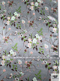 Elegant Floral Printed Silk Charmeuse - Sage-Grey / Green / Brown / Blushy Pink