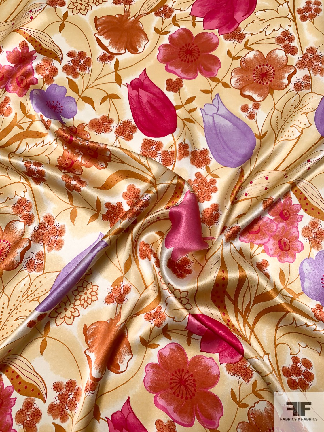 Spring in Autumn Printed Silk Charmeuse - Harvest Tan / Caramel / Magenta / Purple