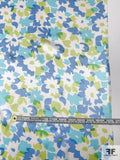 Gentle Floral Printed Silk Charmeuse - Blues / Yellow-Green / White