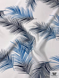 Tropical Leaf Matte-Side Printed Silk Charmeuse - Navy / Blue / Silk White