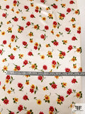 Joyful Floral Printed Silk Charmeuse - Red / Yellow / Green / Off-White