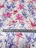 Painterly Floral Sketch Printed Silk Charmeuse - Shades of Purple / Magenta / Pink