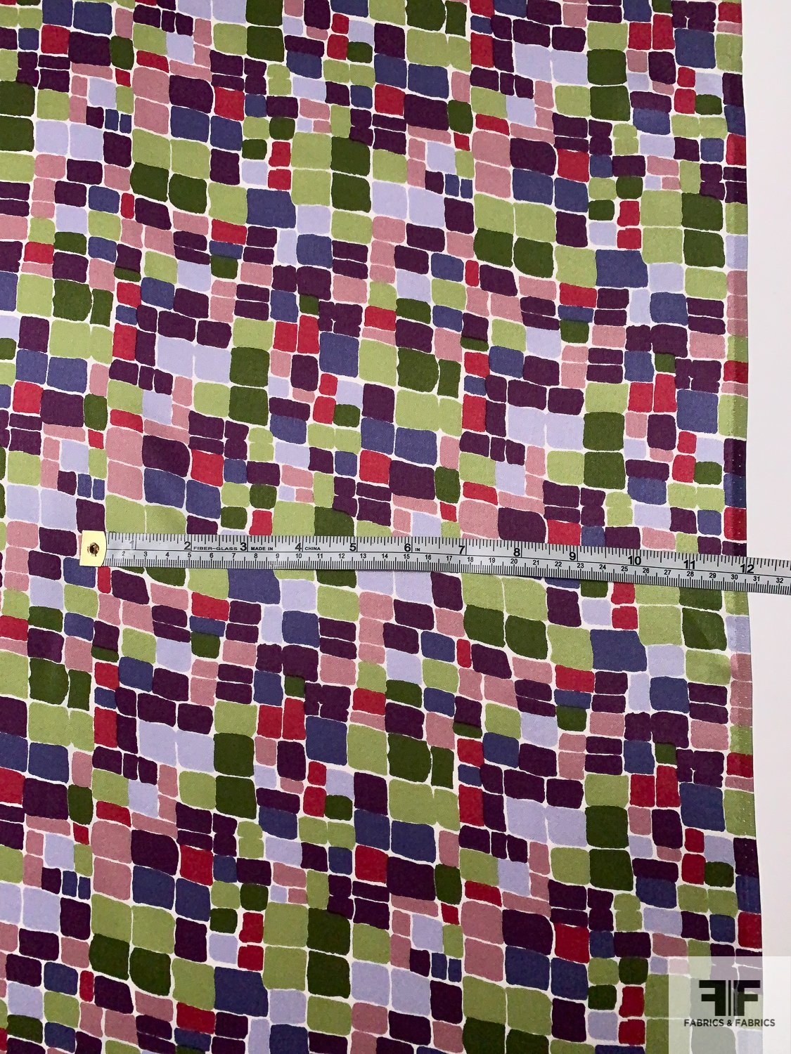 Painted Pixel Squares Printed Silk Charmeuse - Eggplant / Army Green / Mauve / Multi