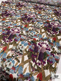 Jakob Schlaepfer Floral Landscape Printed Basketweave Silk Gazar - Purple / Teal / Multicolor