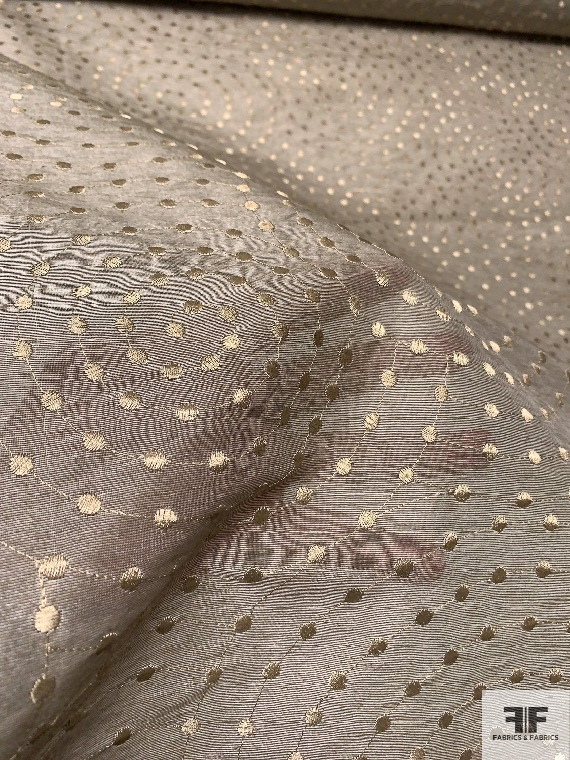 Swirling Circles Embroidered Silk and Rayon Plain Weave Gazar - Beige