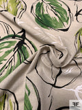 Italian Large Watercolor Leaf Printed Cotton-Linen - Green / Lime / Sand / Black
