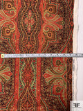Persian Rug Inspired Printed Rayon Linen - Red / Greens / Orange / Black