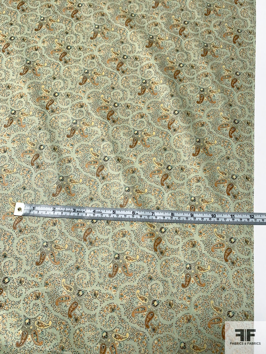 Liberty of London Paisley Printed Fine Cotton Lawn - Light Sage / Tan / Teal