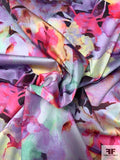 Watercolor Floral Printed Stretch Cotton Sateen - Multicolor